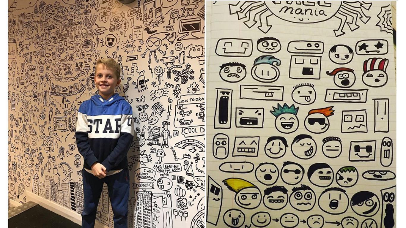 Este niño decoró con sus dibujos un restaurante